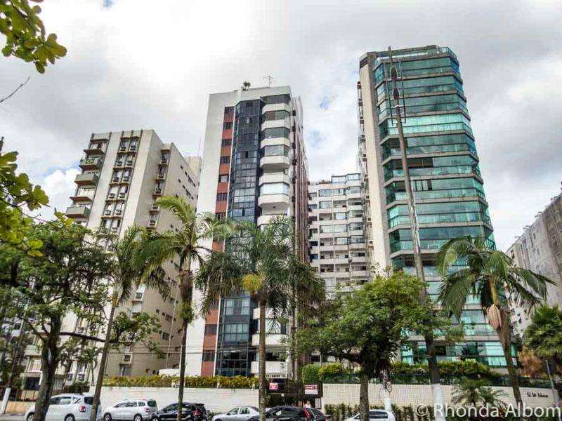 Leaning buildings in Santos Brazil