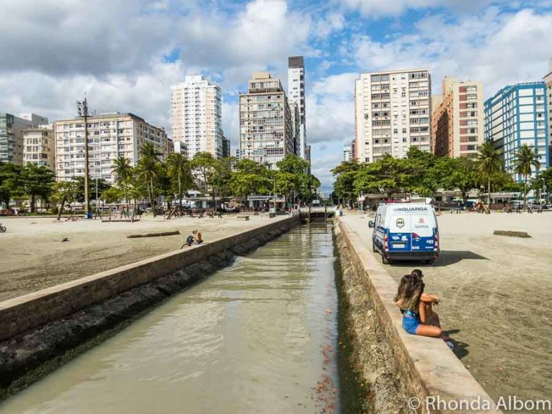Canal at the beach in Santos Brazil