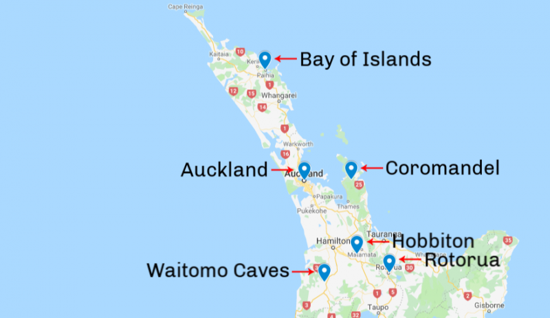 Day trips from Auckland Locations