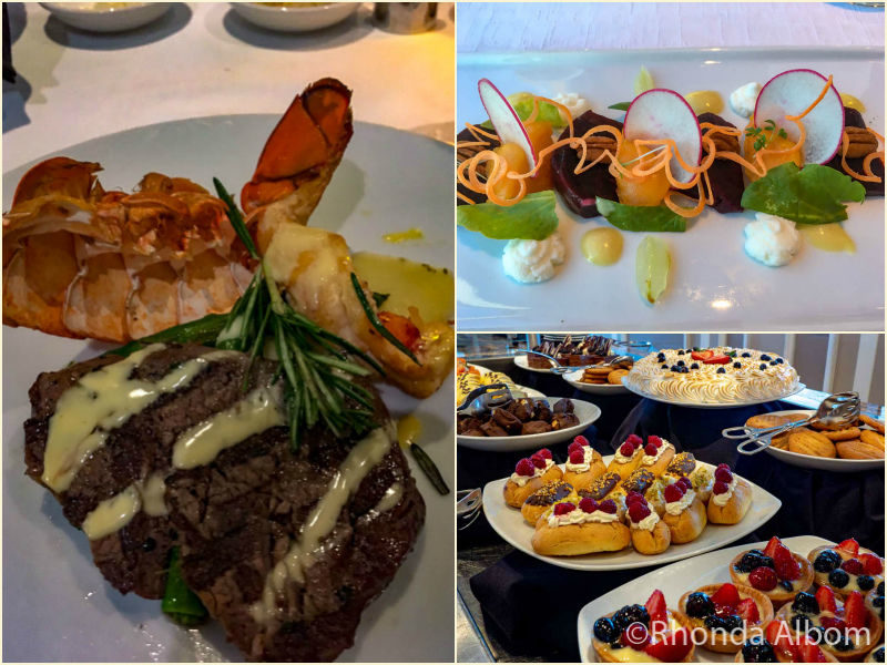 Food photos of meals onboard the Azamara Persuit