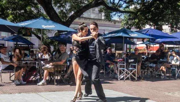 Tango dancers on Plaza Dorrego in San Telmo - one of the free things to do in Buenos Aires, Argentina