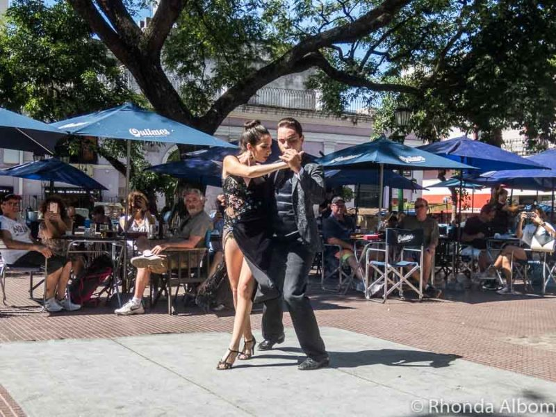 Tango dancers on Plaza Dorrego in San Telmo - watching them is one of the free things to do in Buenos Aires, Argentina