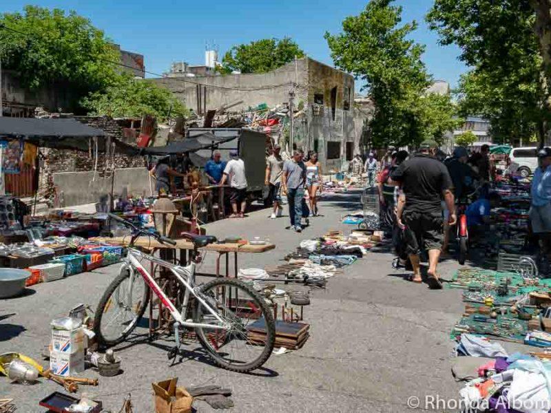 Side roads of the Montevideo flea market, Uruguay