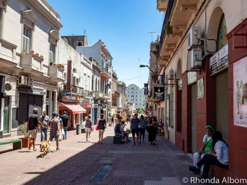 Pedestrian street leading to Port Market Montevideo Uruguay