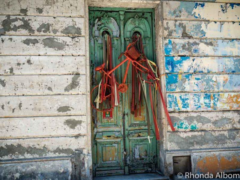 Bike rental shop with an interesting door in Montevideo Uruguay