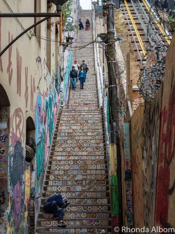 Mosiac tile staircase alongside a funicular Valparaiso, Chile