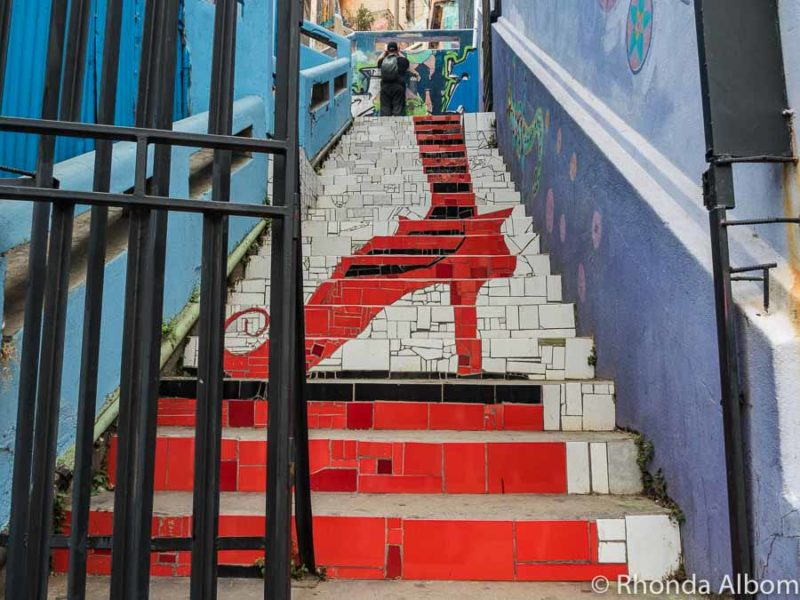 Mosaic street art covering a stairwell in Valparaiso, Chile