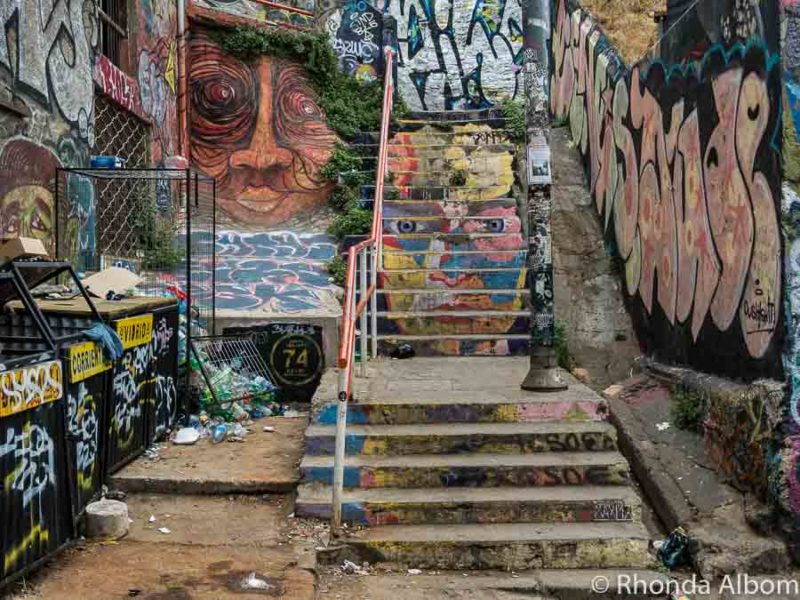 Street art stairs and graffiti, Valparaiso Chile