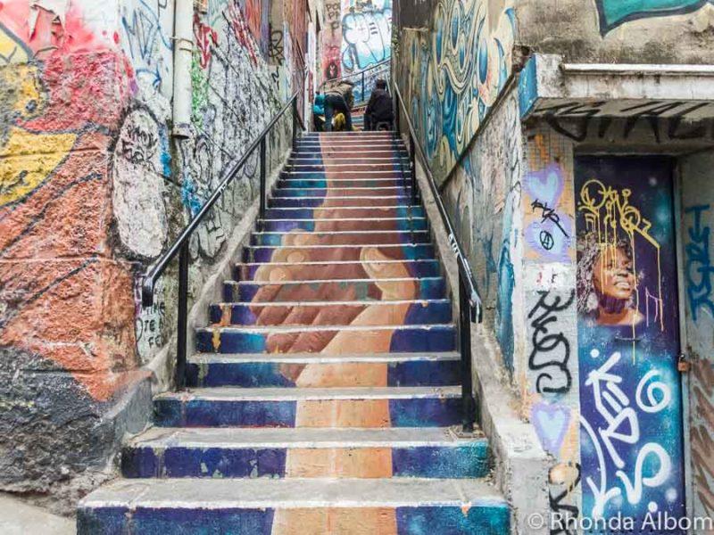 Street art on Cerro Concepción (Conception Hill) in Valparaiso, Chile