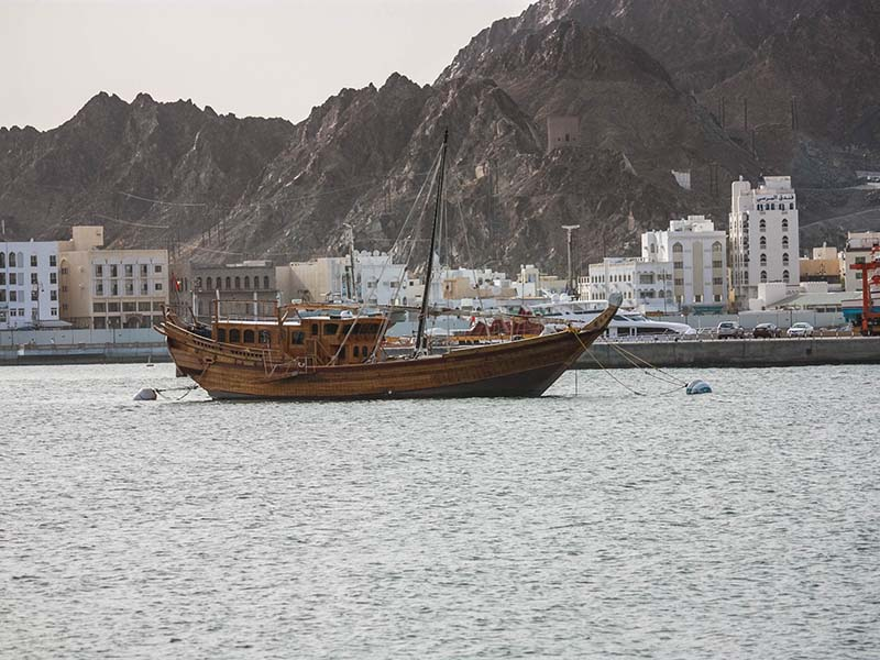 Corniche in Oman representing Asia and Africa
