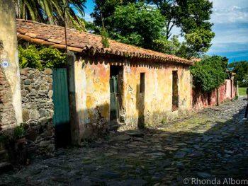 A street in the old historic district of Colonia del Sacramento Uruguay