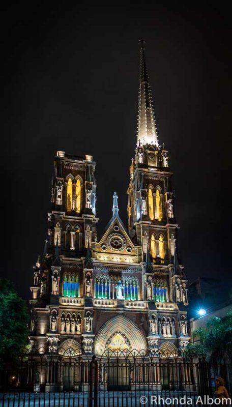 Iglesia Capuchinos at night in Cordoba Argentina
