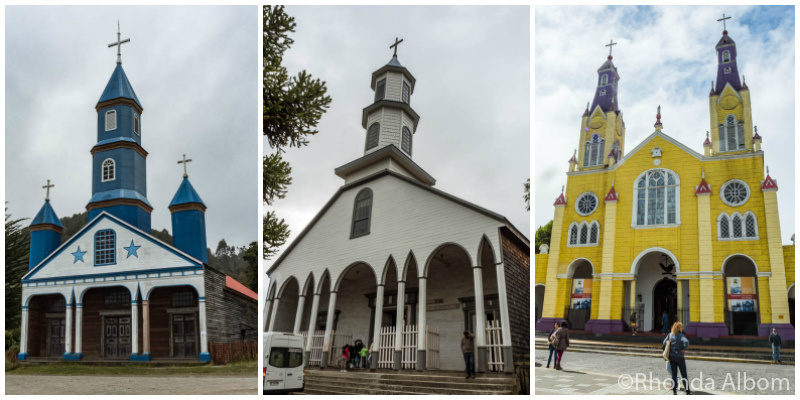 Three Churches on Chiloe Island in Chile