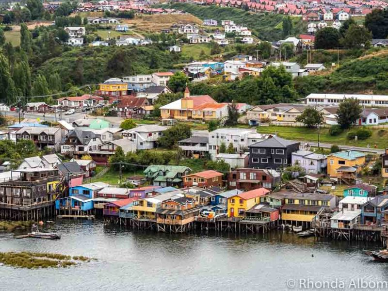 Looking down on the palafitos (stilted houses) in Castro on Chiloe Island.