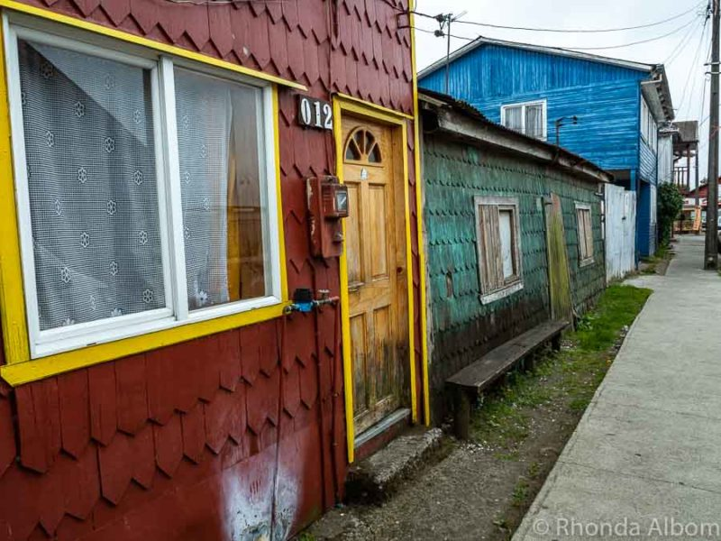 Houses in the town of Dalcahue on Chiloe Island, Chile