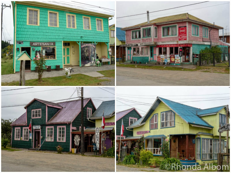 Colorful houses in Chacao, the oldest town on Chiloe Island