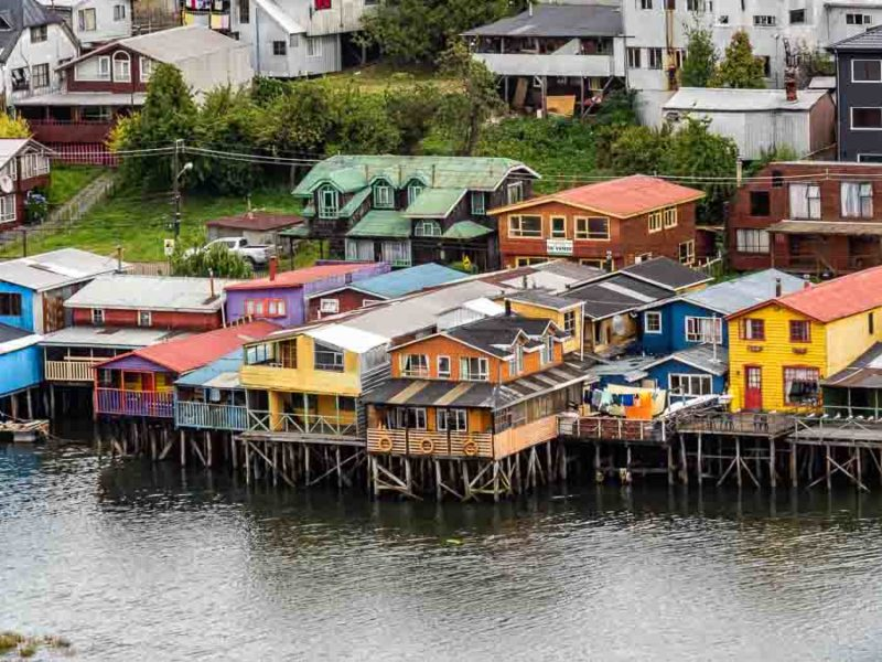 Palafitos in Castro, seen as we tour Chiloe Island