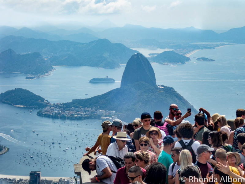 Crowds at Christ the Redeemer monument in Rio de Janeiro Brazil