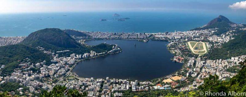 View of the Lagoa Lagoon from Corcovado in Rio de Janeiro Brazil