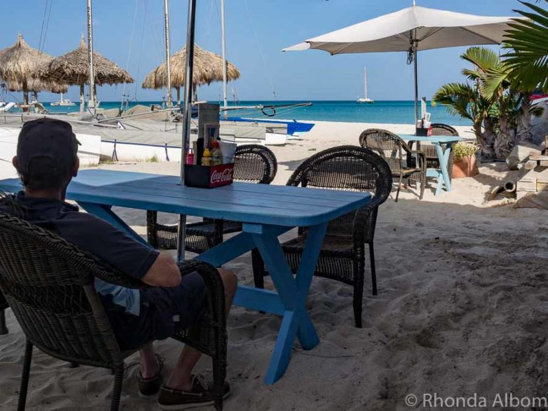 Beach front coffee shop on the Caribbean Island of Aruba