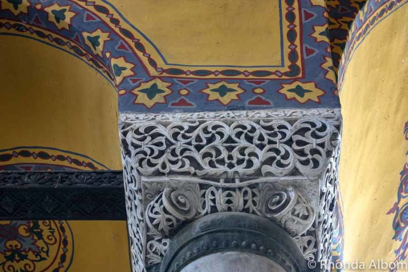 Detailed carvings on a column in Hagia Sophia