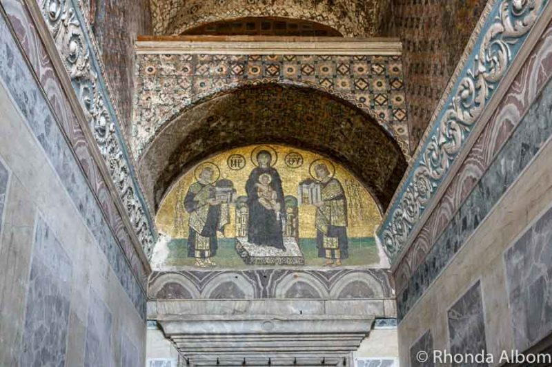 The mosaic in Hagia Sophia is on of the things to see in Istanbul Turkey