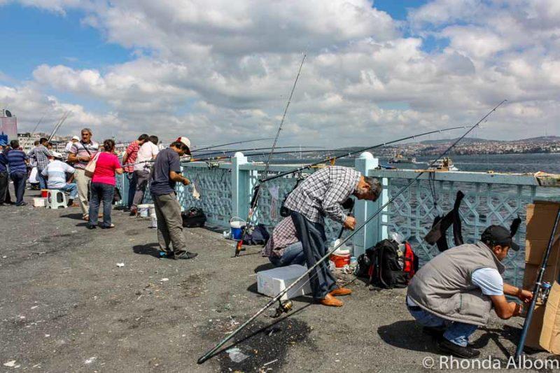 Fishing off the Galata Bridge in Istanbul