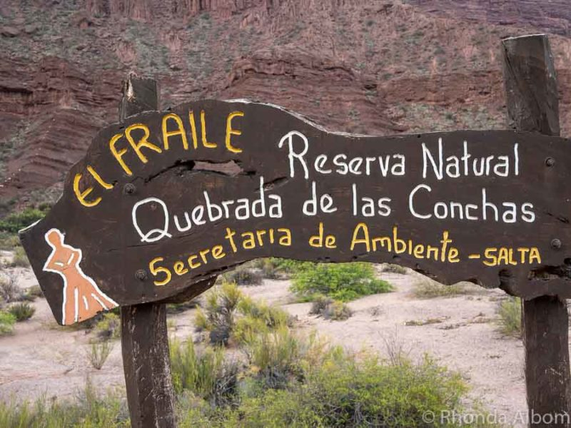 Signage for El Fraile, the Friar in Argentina