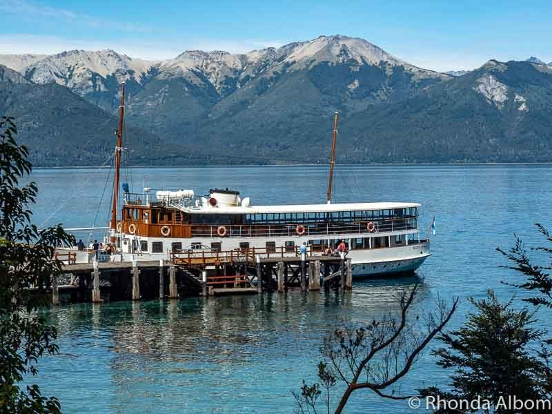The wooden boat, Modesta Victoria, is seen from Quetrihue Peninsula