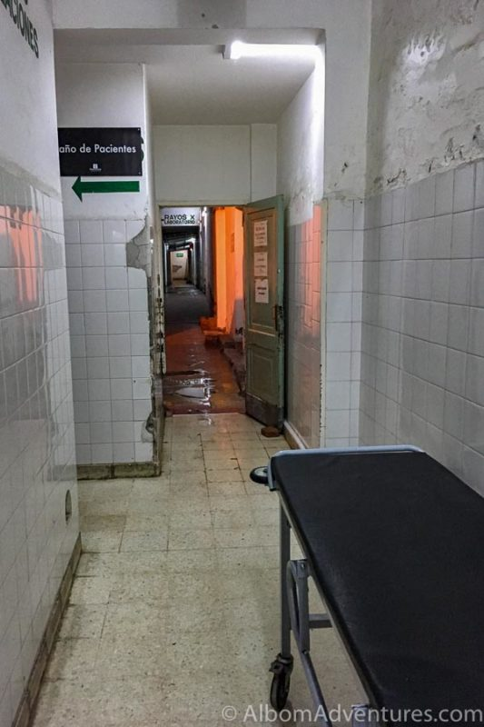 Hallway to x-ray at Sr Hospital del Milagro in Salta Argentina