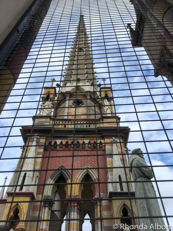 Church of the Capuchinos reflected in another building