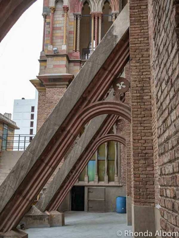 Buttresses outside on the second level of the Iglesia Capuchinos in Cordoba Argentina