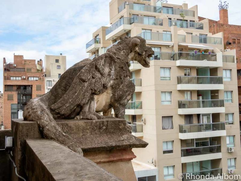 Gargoyle on the second level of the Iglesia Capuchinos in Cordoba Argentina