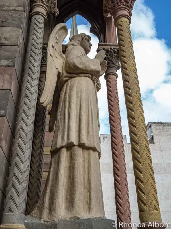 Statue of an archangel outside of a church in Argentina