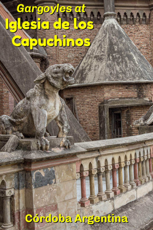 images of gargoyles and other sections of the elaborately decorated Iglesia Capuchinos,