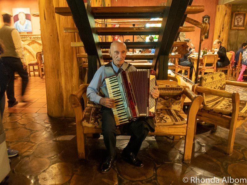 Acordian player at Familia Weiss Restaurant, San Carlos de Bariloche