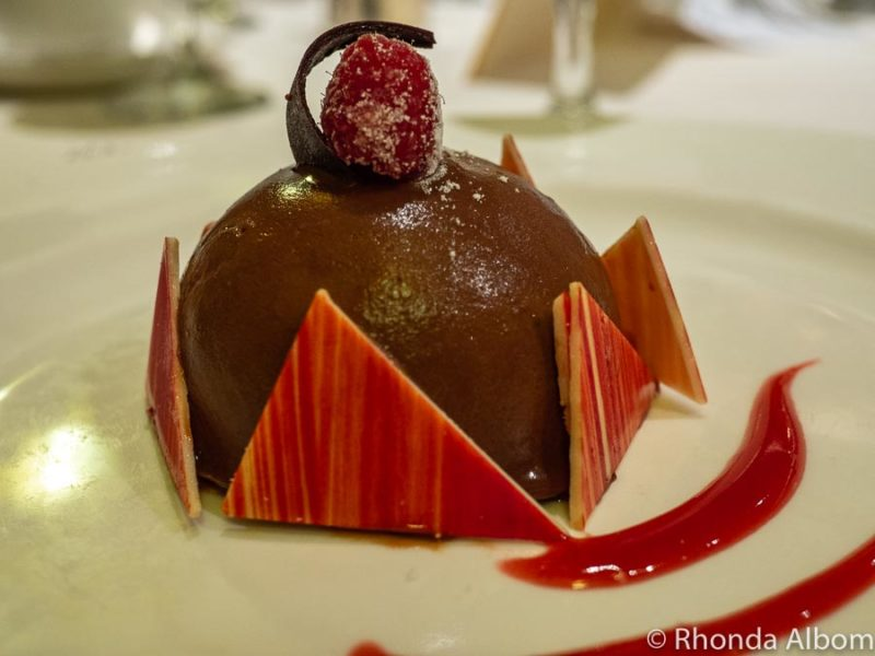 Chocolate and raspberry dessert on the Golden Princess