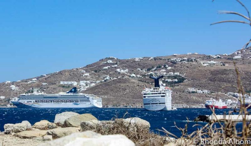 Four cruise ships in Mykonos Harbour, Greece