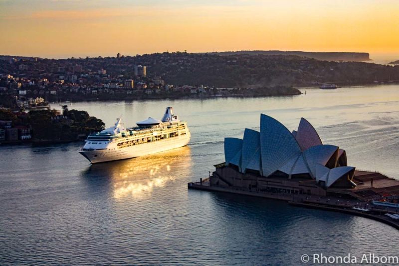 Repositiong cruise ship sailing into Sydney Harbour