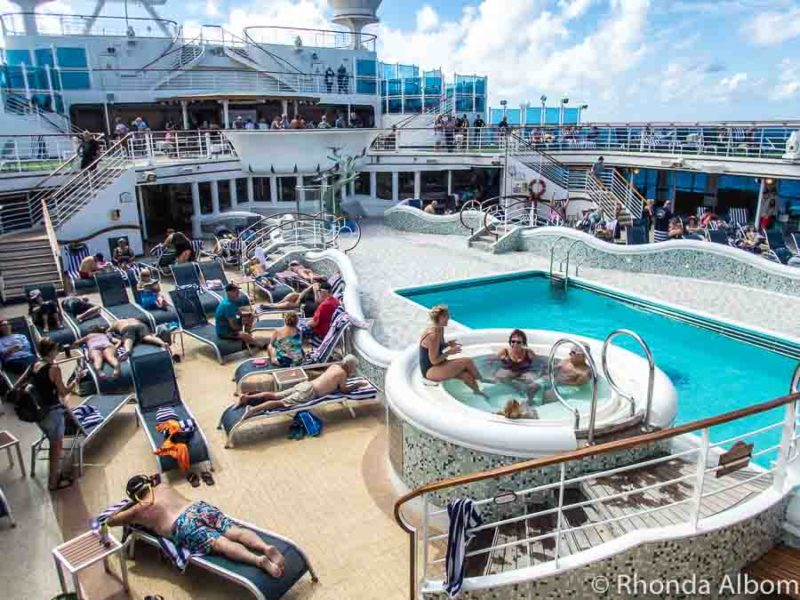 Outdoor pool on a cruise ship is a great place to relax