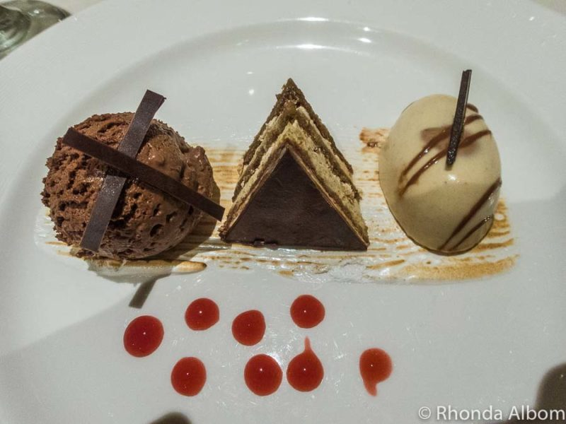 Triple chocolate desert on a cruise ship