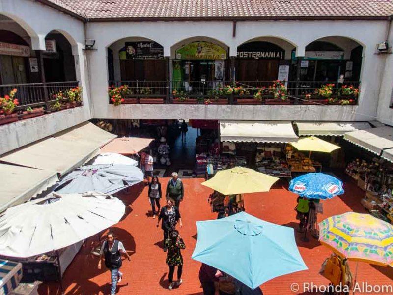 Looking down on La Recova Market