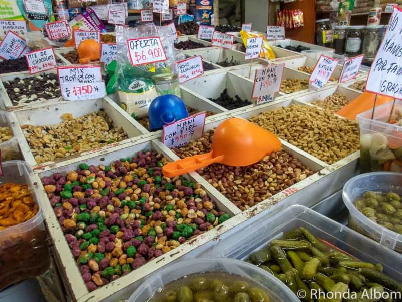 Food bins at La Recova Market in La Serena Chile