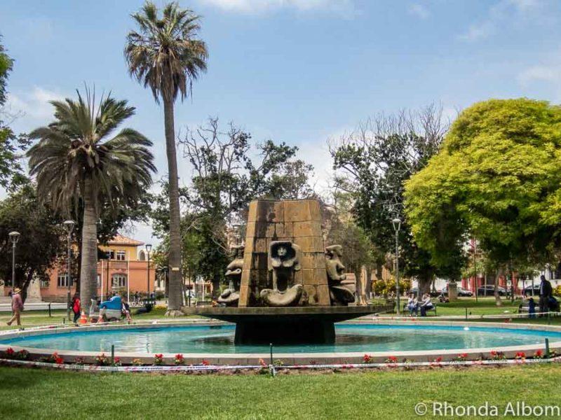 Fountain in the centre of Plaza de Armas in La Serena Chile