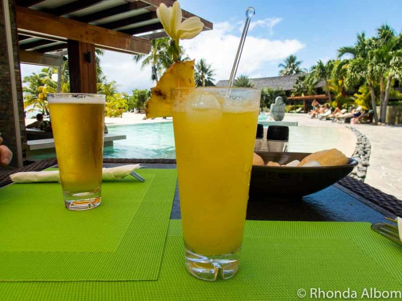Refreshing drink at a resort on Moorea French Polynesia a stop on one of the repositioning cruises