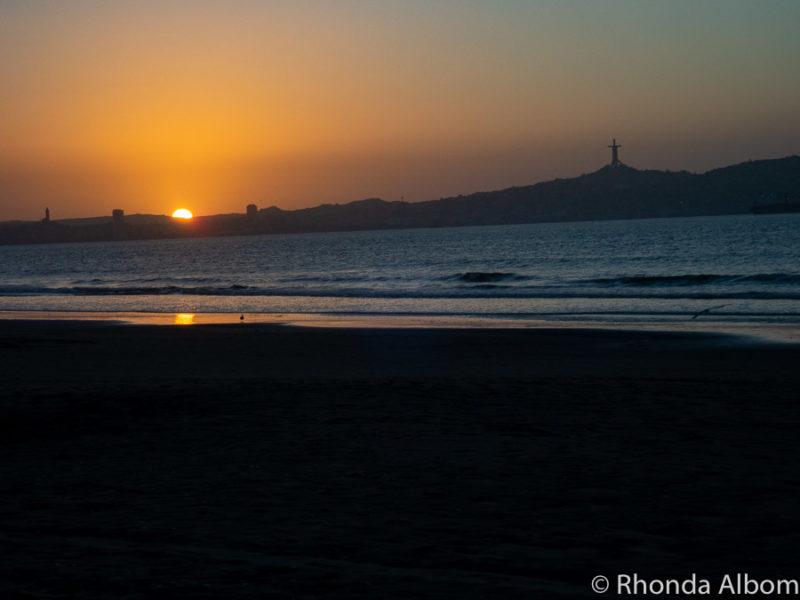 Sunset on the beach in La Serena Chile