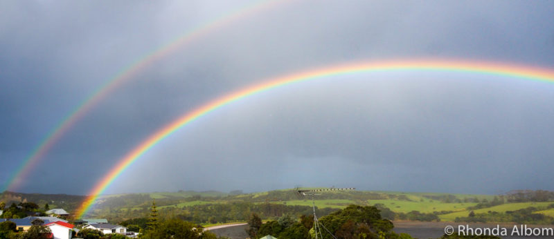 Looking for the rainbow (this one over Shakespear Park) is one of our favorite lazy rainy day activities in  Auckland