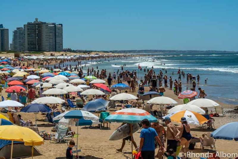 One of the more crowded beaches in Uruguay