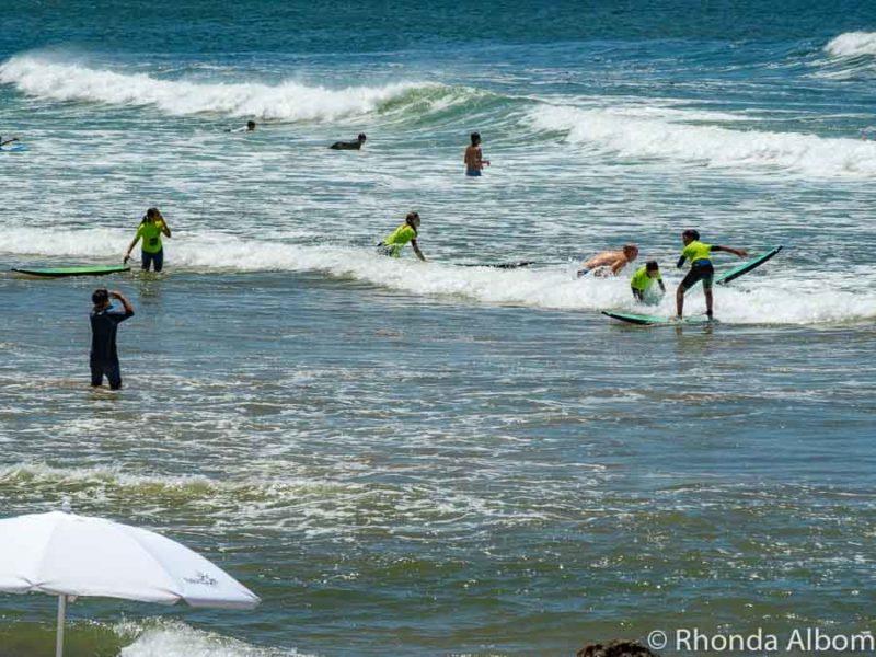 Surfing at La Mano Beach in Punta del Este Uruguay