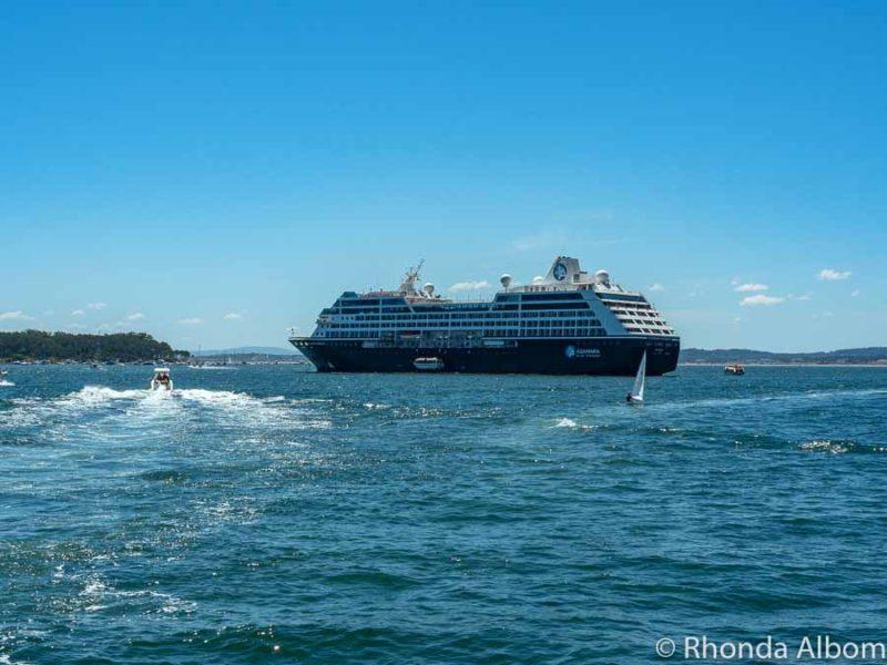 Azamara Pursuit off the coast of Punta del Este, Uruguay.